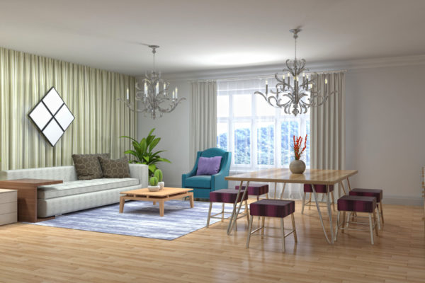 Illustration of the living room interior